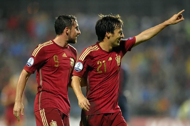 David Silva celebra o golo contra o Luxemburgo