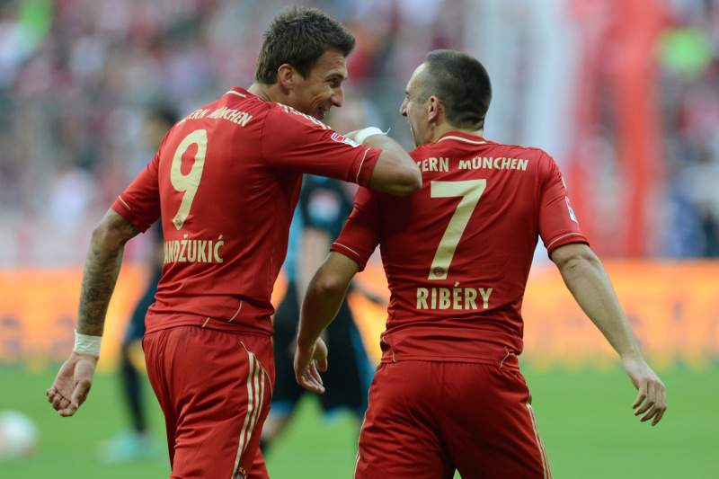 Mandzukic e e Ribéry no Bayern Munique
