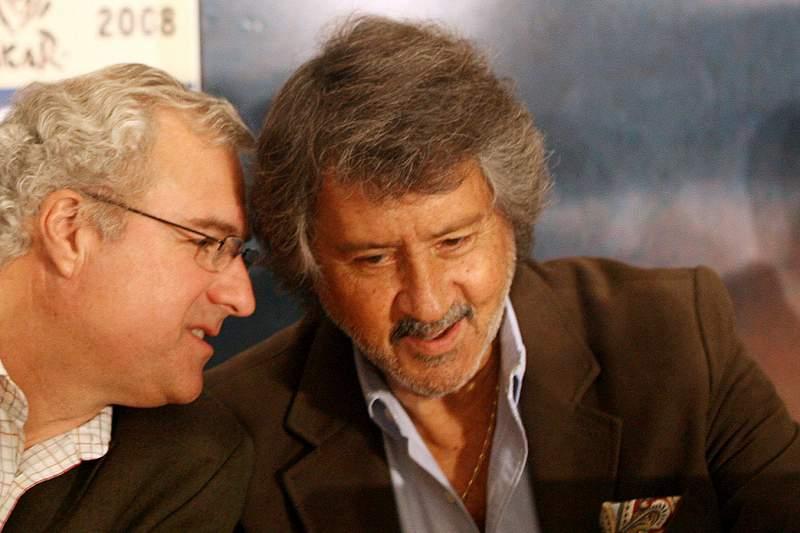 João Lagos com Gilles Jourdan durante a apresentação de uma prova do Rali Dakar