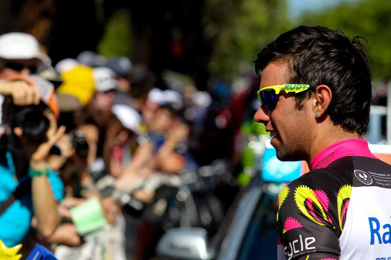 Michael Matthews (R) from Australia looks at the crowd prior to stage 4 of the 2011 Tour Down Under from Norwood to Strathalbyn on January 21, 2011. The Tour Down Under cycling event runs from January 16-23. IMAGES STRICTLY RESTRICTED TO EDITORIAL USE - STRICTLY NO COMMERCIAL USE AFP PHOTO/MARK GUNTER