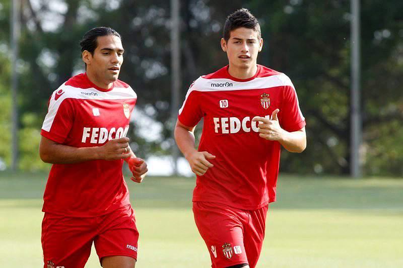 Falcao e James num treino do Mónaco