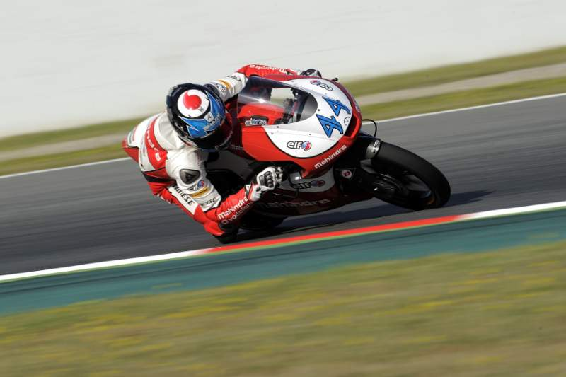 Mahindra Racing's Portuguese rider Miguel Oliveira takes part in the third Moto 3 free practice of the Catalunya Grand Prix at the Catalunya racetrack in Montmelo, near Barcelona, on June 15, 2013. AFP PHOTO / JOSEP LAGO