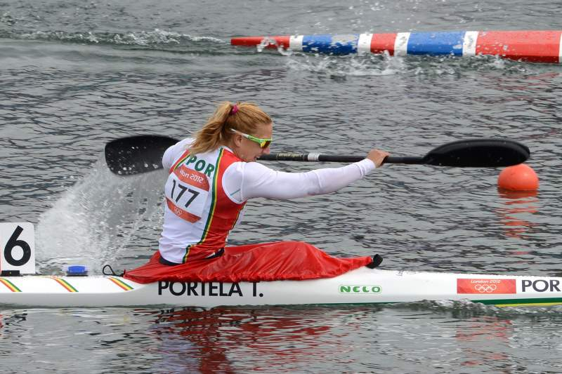 Portugal's Teresa Portela competes in the kayak single (K1) 500m women's semifinals during the London 2012 Olympic Games, at Eton Dorney Rowing Centre in Eton, west of London, on August 7, 2012. AFP PHOTO / DAMIEN MEYER
