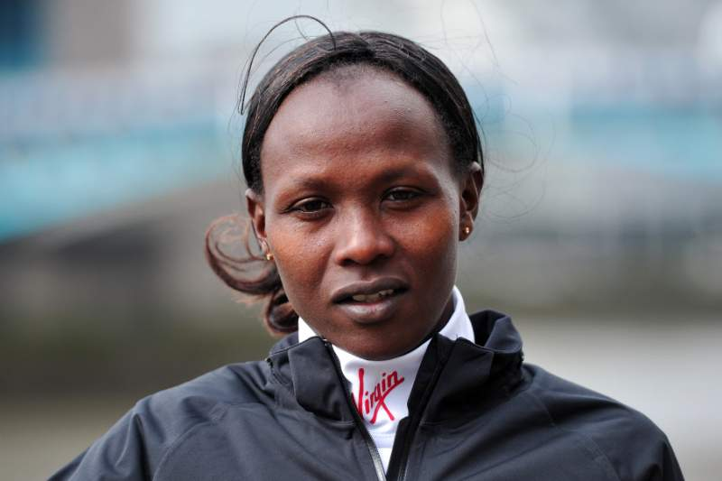 Kenyan long-distance runner Priscah Jeptoo poses for a photograph in central London on April 18, 2013 during a photo call ahead of the London marathon. The London Marathon will go ahead as planned on April 21, 2013 after security arrangements were reviewed in the wake of the bombings that caused carnage at the Boston Marathon, organisers and police said. AFP PHOTO/CARL COURT