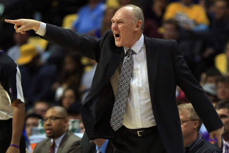 DENVER, CO - APRIL 30: Head coach George Karl leads the Denver Nuggets against the Golden State Warriors during Game Five of the Western Conference Quarterfinals of the 2013 NBA Playoffs at the Pepsi Center on April 30, 2013 in Denver, Colorado. NOTE TO USER: User expressly acknowledges and agrees that, by downloading and or using this photograph, User is consenting to the terms and conditions of the Getty Images License Agreement. Doug Pensinger/Getty Images/AFP