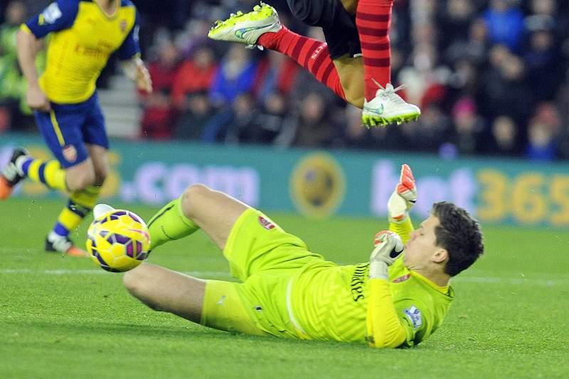 Wojciech Szczesny no encontro entre o Arsenal e o Southampton