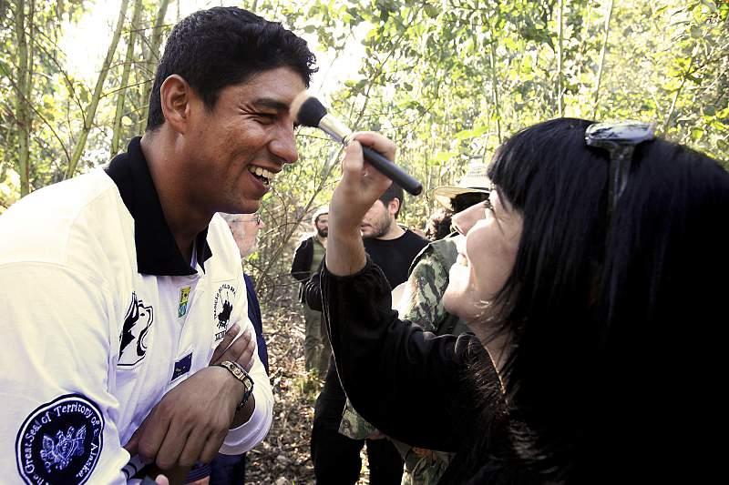 Mário Jardel durante a filmagem de um filme