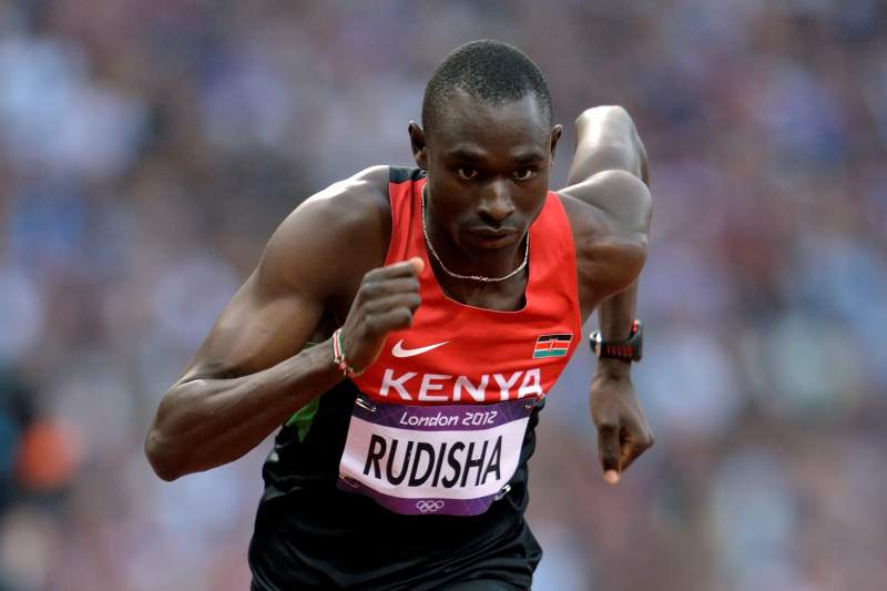(FILES) Kenya's David Lekuta Rudisha competes in the men's 800m final at the athletics event during the London 2012 Olympic Games on August 9, 2012 in London. World and Olympic 800m champion David Rudisha will miss next month's World Athletics Championships in Moscow, his coach, Colm O'Connell, confirmed on July 16, 2013. The 24-year-old world record holder had been omitted from the Kenyan national championship trials due to a knee injury and O'Connell said that the two-lap specialist would not