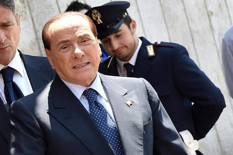 Silvio Berlusconi during a TV program on 'La7' channel in Rome