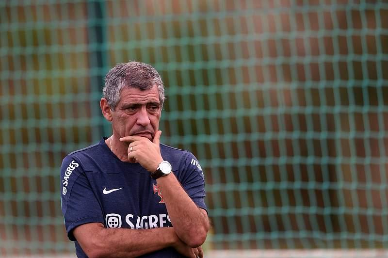 Fernando Santos nos treinos da Seleção