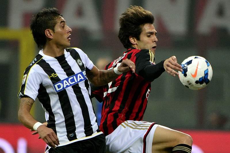 Roberto Pereyra da Udinense, com Kaká do Milan