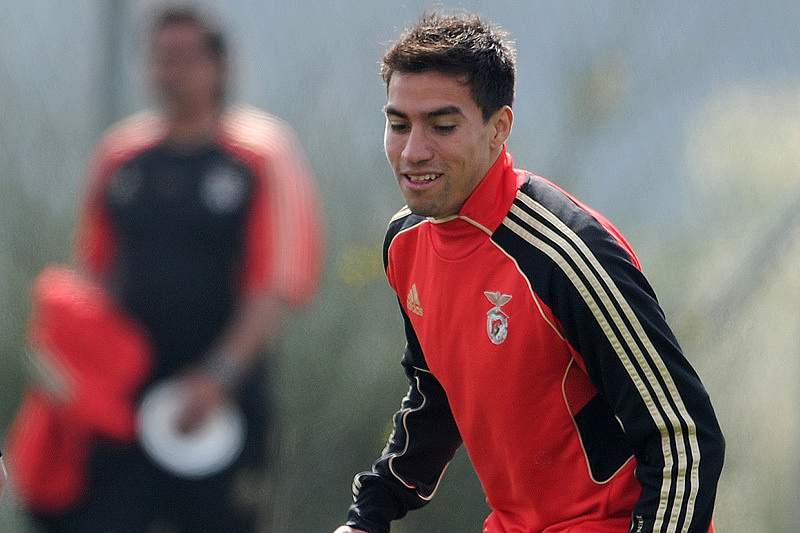 Gaitán num treino do Benfica
