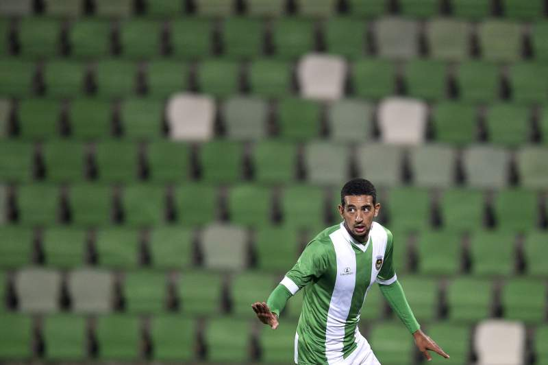 Ahmed Hassan celebra um golo no Estádio dos Arcos