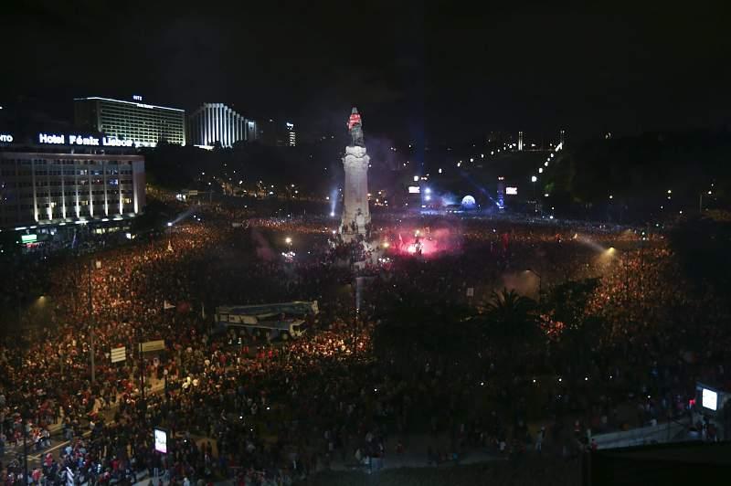 festa do Benfica campeão no Marquês de Pombal