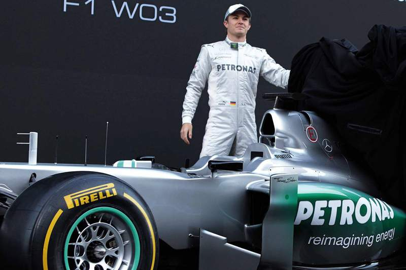Formula One drivers Michael Schumacher and Nico Rosberg of Mercedes GP, during the presentation of new F1 Mercedes W03