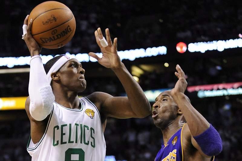 Rajon Rondon dos Boston Celtics contra Kobe Bryant dos LA Lakers boston celtics