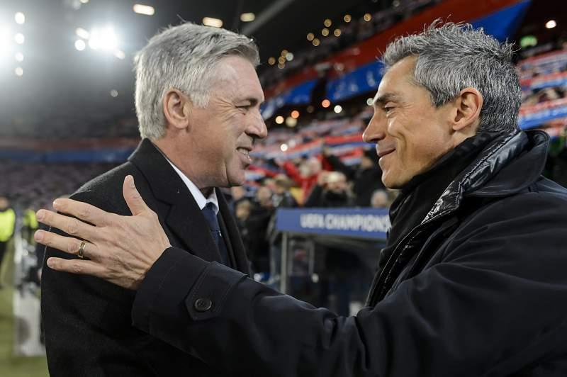 Paulo Sousa cumprimenta Ancelotti