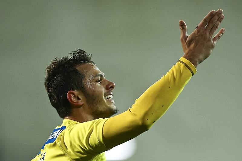 Kleber do Estoril Praia celebra um golo frente ao Gil Vicente no jogo da Ta