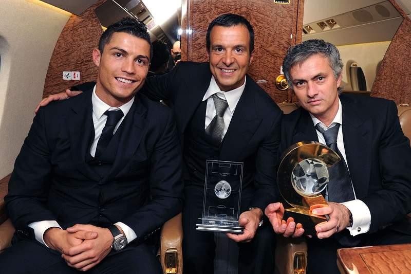 Jorge Mendes com Mourinho e Ronaldo