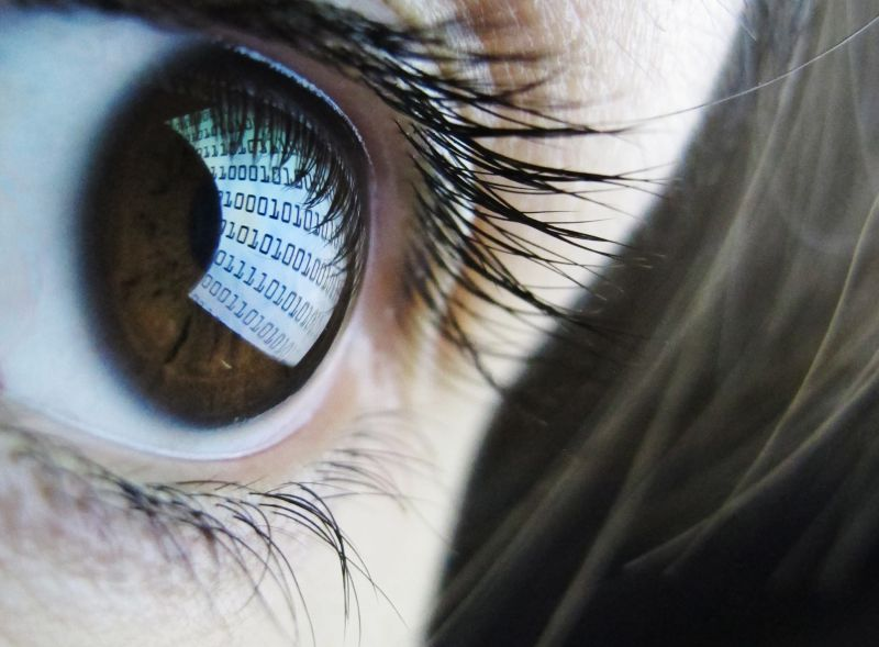A pictures shows binary code reflected from a computer screen in a woman's eye on October 22, 2012. AFP PHOTO / LEON NEAL