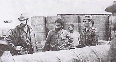 O primeiro da esquerda é o comandante Arguelles depois o general Luís Faceira a seguir Cintra Frias e por fim Pascoal Martinez