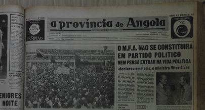 Capa do jornal  A província de Angola