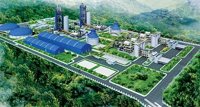 Maqueta do projecto da nova fábrica de produção de clínquer e cimento que está em fase avançada de construção no município de Cacuaco