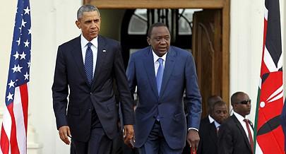 Barack Obama com Uhuru Kenyatta durante uma das suas visitas à África