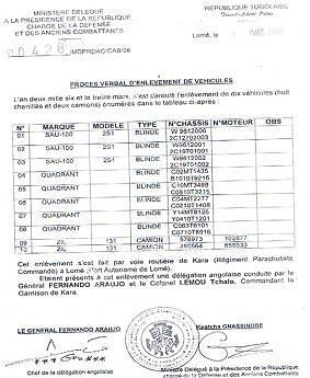 Documentos sobre armas  da UNITA  na República do Togo