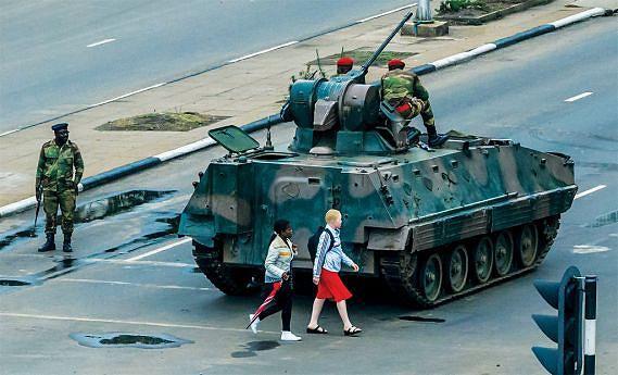 Forte aparato militar desdobrado em pontos  estratégicos na cidade de Harare