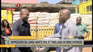 Seca no Sul do pai?s empresa?rio da Lunda-Norte doa 25 toneladas de bens diverso