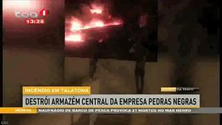 Incêndio em Talatona destrói armazém central da empresa Pedras Negras