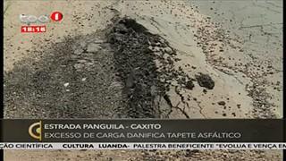 Estada Panguila-Caxito excesso de carga danifica tapate asfa?ltico
