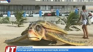 Tartaruga gigante símbolo da preservação ambiental inaugurada na pra