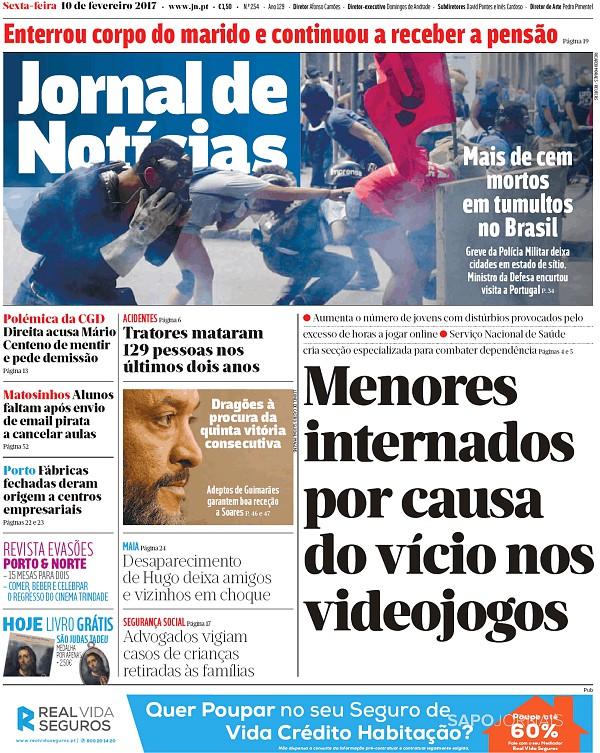 Capa do Jornal de Notícias de 10/2/2017