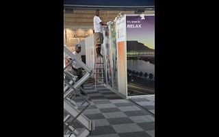 Montagem no pavilhão da África do Sul