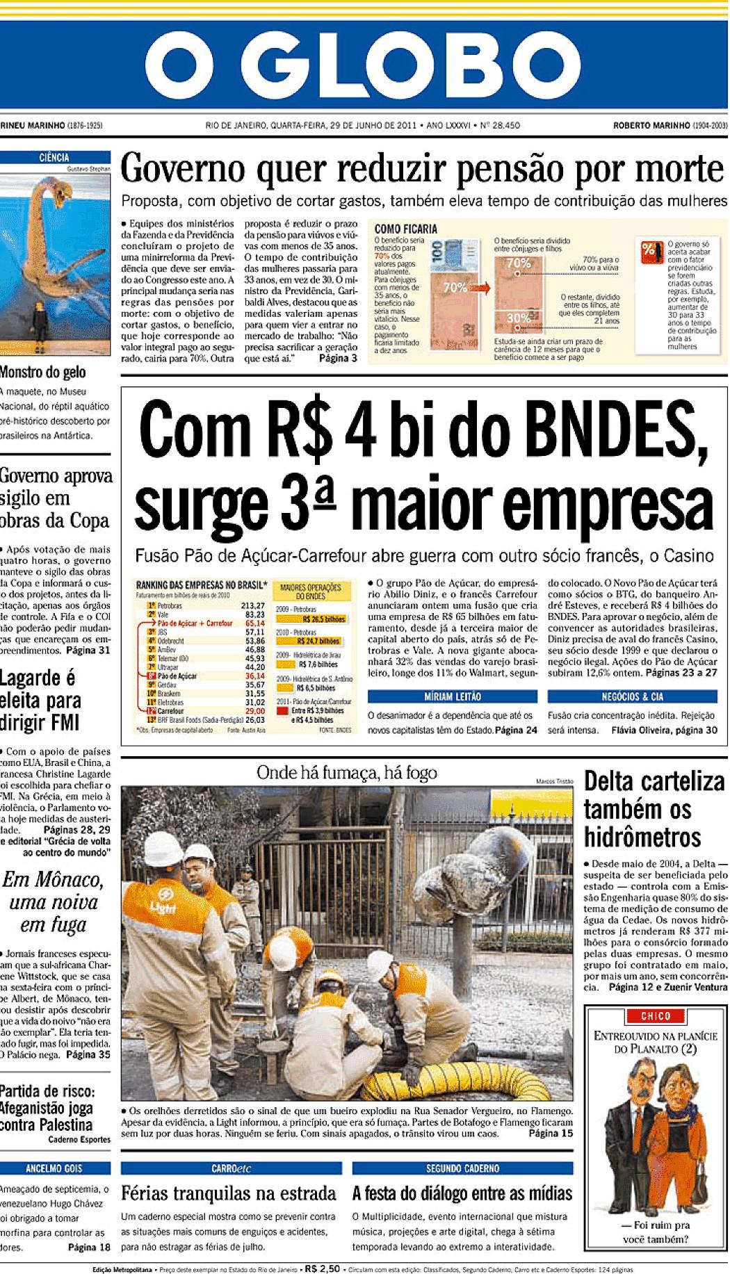 O Globo 29 Jun 2011 Jornais E Revistas Sapo Notícias