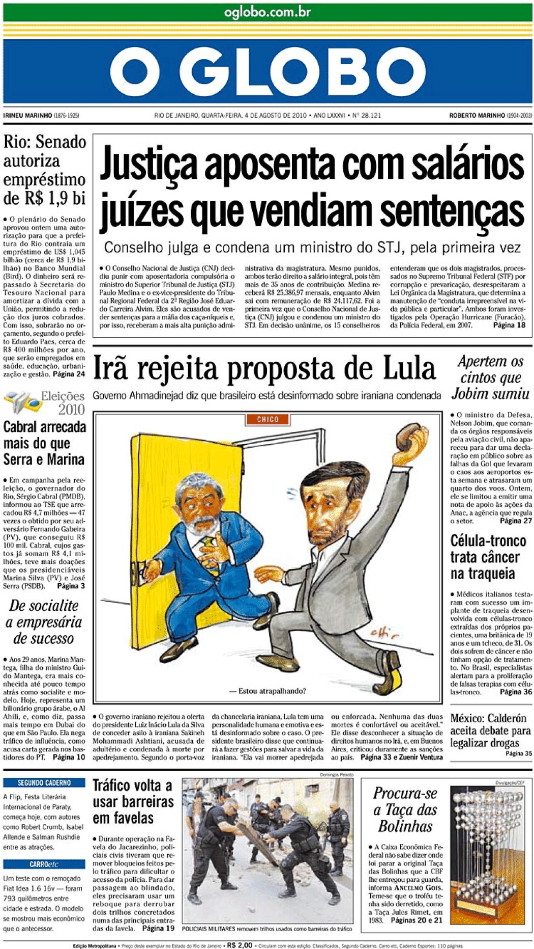 O Globo 4 Ago 2010 Jornais E Revistas Sapo Notícias
