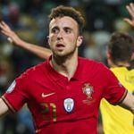 epa08745443 Portugal national team player Diogo Jota celebrates after scoring a goal during the UEFA Nations League group C soccer match between Portugal and Sweden, held at Alvalade stadium in Lisbon, Portugal, 14 October 2020.  EPA/JOSE SENA GOULAO