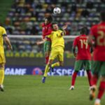 Portugal national team player Joao Felix (C-L) in action against Sweden national team player Albin Ekdal (C-R) during the UEFA Nations League group C soccer match between Portugal and Sweden, held at Alvalade stadium in Lisbon, Portugal, 14 October 2020, JOSE SENA GOULAO/LUSA
