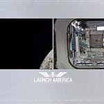 Lado a lado, as imagens da câmara da Crew Dragon e da Estação Espacial Internacional