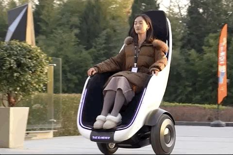 Segway-Ninebot S-Pod on the go.