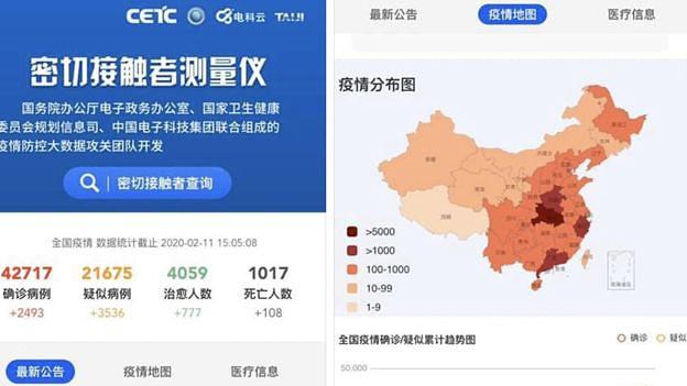 Screenshot da aplicação desenvolvida pela governo chinês