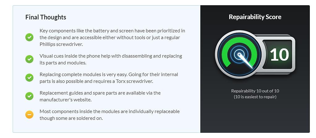 Avaliação da iFixit sobre o Fairphone 3