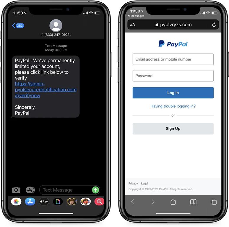 Esquema de smishing no PayPal