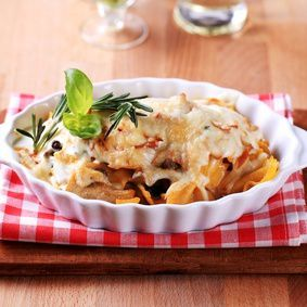 Dish of farfalle pasta and cheese - closeup