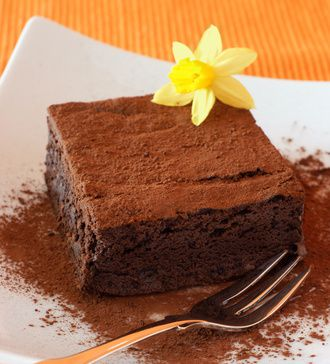 Chocolate Fudge Brownie devorated with daffodil on a white plate