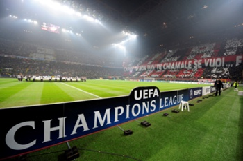 A general view of San Siro stadium prior the AC Milan vs Manchester United UEFA Champions League round of 16 match against Manchester United on February 16, 2010 at San Siro stadium in Milan. AFP PHOTO / Giuseppe Cacace