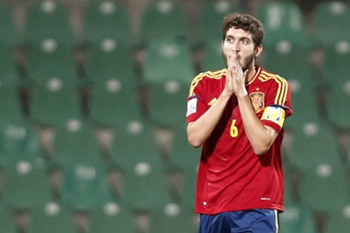 Jose Campana of Spain reacts after missing a chance against Uruguay during the FIFA Under 20 World Cup 2013 Soccer Championship quarter final match at the Ataturk Stadium in Bursa, Turkey, 06 July 2013.