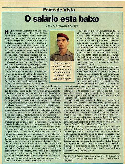 Bolsonaro abandonou o Exército aos 33 anos alegando insanidade mental?